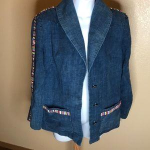 Vintage denim rainbow blazer